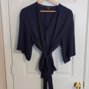 Trouve Navy wrap top, size M